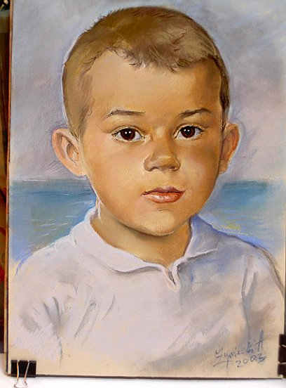 portret chlopca pastel